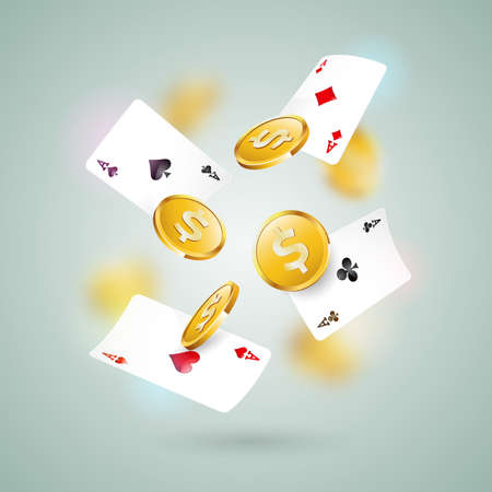 Vector illustration on a casino theme with poker cards and gold coin on clean background. Gambling design for greeting card, poster, invitation or promo banner.