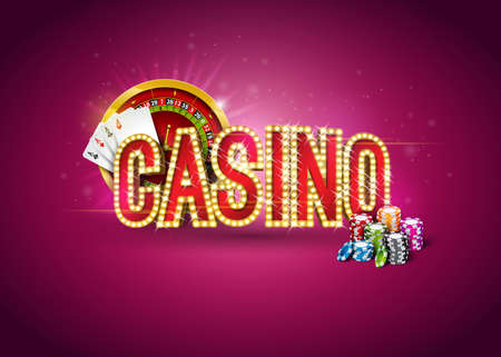 Ilustración de casino con ruleta, cartas de póquer, fichas de juego y letrero de iluminación sobre fondo rojo. Diseño de juegos de azar para carteles de fiestas, tarjetas de felicitación, invitaciones o pancartas promocionales. Ilustración de vector