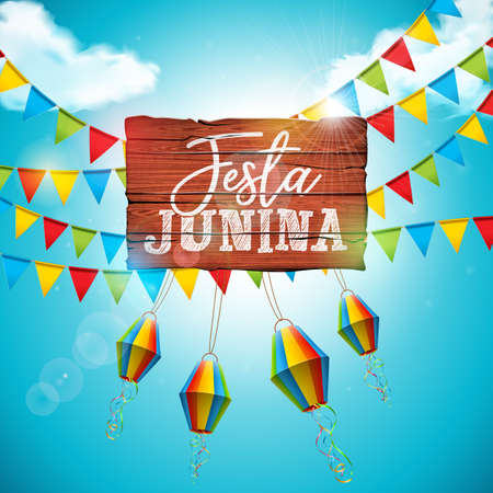Festa Junina illustration with party flags and paper lantern on blue cloudy sky background. Brazil June festival design for greeting card, invitation or holiday poster. Vektorové ilustrace