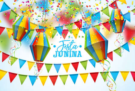 Festa Junina Illustration with Party Flags and Paper Lantern on White Background. Vector Brazil June Festival Design for Greeting Card, Invitation or Holiday Poster