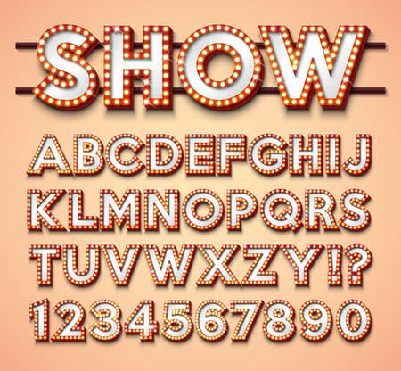Light Bulb Alphabet with bright red frame and shadow on red backgrond. Glowing retro vector font collection with shiny lights. ABC and number design for casino, night club or cinema. Layered Separated Characters Иллюстрация
