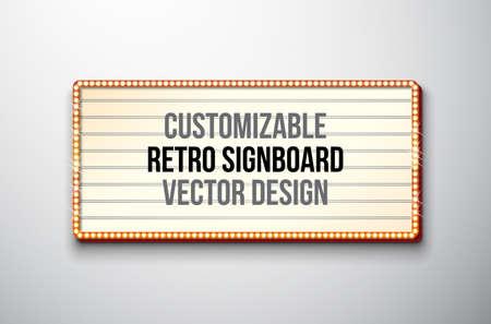 Illustration de vecteur rétro enseigne ou lightbox avec un design personnalisable sur fond propre. Bannière légère ou panneau d'affichage lumineux vintage pour la publicité ou votre projet.