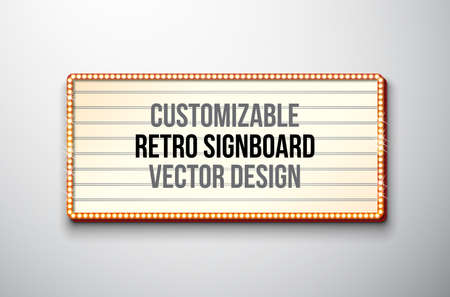 Vector retro signboard or lightbox illustration with customizable design on clean background. Light banner or vintage bright billboard for advertising or your project. Ilustração