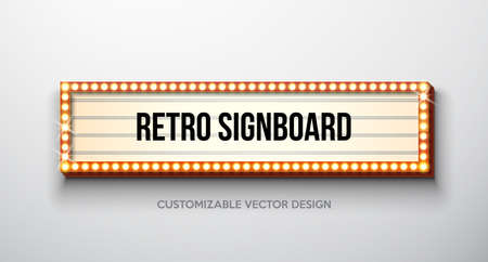 Vector retro signboard or lightbox illustration with customizable design on clean background. Light banner or vintage bright billboard for advertising or your project. Show, night events, cinema or theatre light bulb frame.