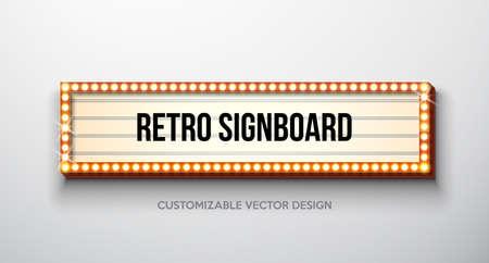Vector retro uithangbord of lightbox-illustratie met klantgericht ontwerp op schone achtergrond. Lichte banner of vintage helder reclamebord voor reclame of uw project. Show, nachtevenementen, bioscoop of theater gloeilampenframe.