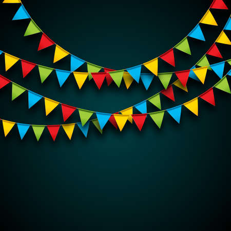 Celebrate Illustration with Party Flags and Falling Confetti on Dark Background. Vector Holiday Festival Design for Greeting Card, Invitation or Poster. 일러스트