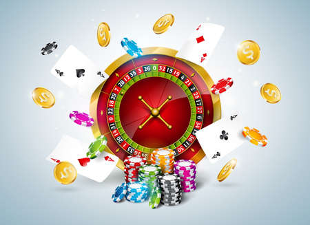 Vector illustration on a casino theme with roulette wheel, poker cards and playing chips on white background. Gambling design for invitation or promo banner.