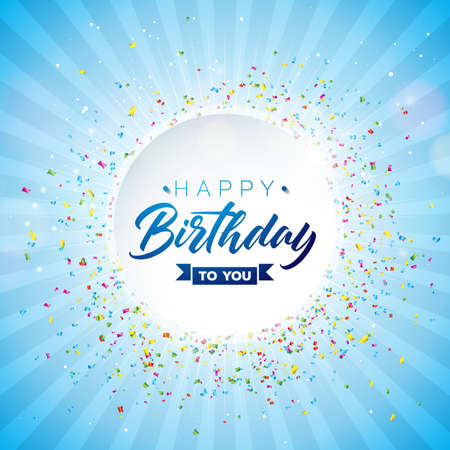 Happy Birthday Vector Design with Typography and Falling Confetti on Shiny Blue Background. Illustration for birthday celebration. greeting cards or party poster.