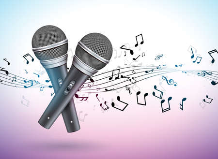 Vector Banner illustration on a Musical theme with microphones and falling notes on violet background. Design template for banner, poster or greeting card.
