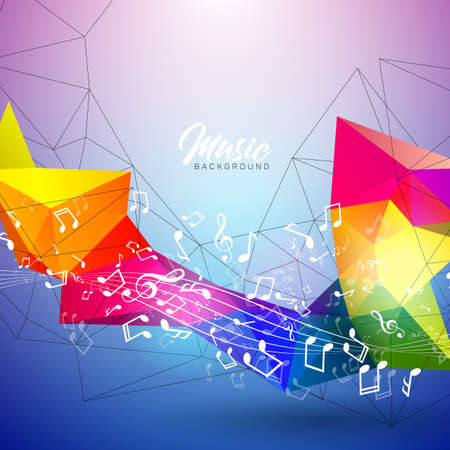 Vector Music illustration with falling notes and abstract color design on blue background for invitation banner, party poster, greeting card. Illustration