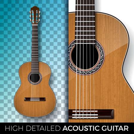 Guitare acoustique isolée sur fond transparent. Illustration vectorielle très détaillée pour invitation, affiche de fête, bannière promotionnelle, brochure ou carte de voeux. Vecteurs