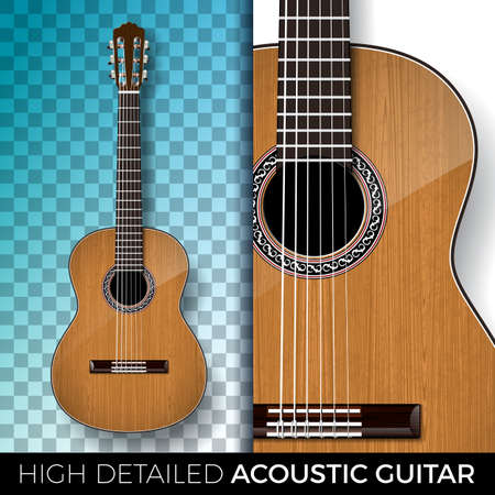 Guitarra acústica aislada sobre fondo transparente. Ilustración vectorial muy detallada para invitación, cartel de fiesta, banner promocional, folleto o tarjeta de felicitación. Ilustración de vector