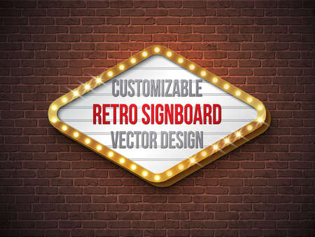 Vector retro signboard or lightbox illustration with customizable design on brick wall background. Light banner or vintage bright billboard for advertising or your project. Show, night events, cinema or theatre light bulb frame. Vectores