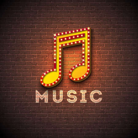 Music illustration with musical note lighting signboard on brick wall background. Vector design for invitation banner, party poster, greeting card. Archivio Fotografico - 101821099