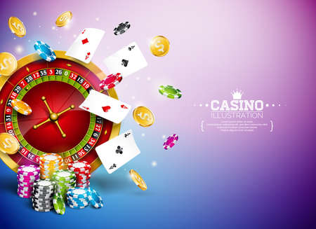 Casino Illustration with roulette wheel, falling gold coins and playing chips on blue background. Vector gambling design with poker cards and dices for party poster, greeting card, invitation or promo banner.