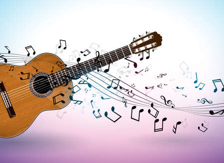 Music banner design with acoustic guitar and falling notes on clean background. Vector illustration template for invitation, party poster, promotional banner, brochure, or greeting card. Vettoriali
