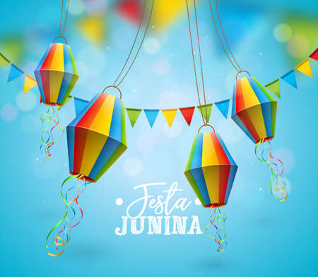 Festa Junina Illustration with Party Flags and Paper Lantern on Blue Background. Vector Brazil June Festival Design for Greeting Card, Invitation or Holiday Poster. Stock Illustratie