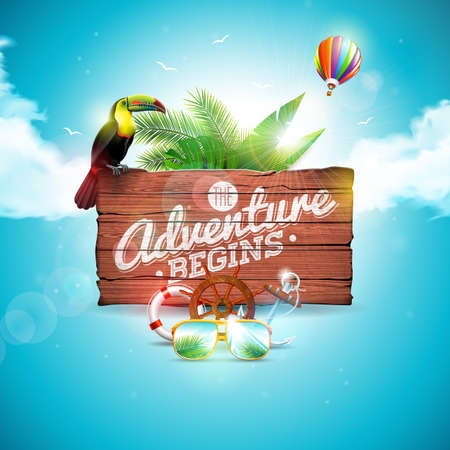 The Adventure begins typographic illustration with toucan bird on vintage wood background. Tropical plants, flower, air balloon, sunglasses and sunshade with blue cloudy sky. Design template for banner, flyer, brochure, poster or greeting card. Illustration