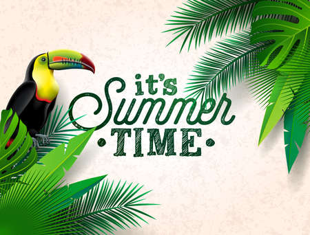 Vector Summer Time Holiday typographic illustration with toucan bird and flower on tropical plants background. Design template with green palm leaf for banner, flyer, invitation, brochure, poster or greeting card. Stock Illustratie