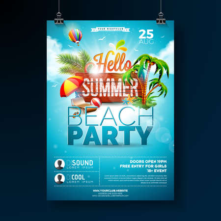 Vector Summer Beach Party Flyer Design with typographic elements on wood texture background. Summer nature floral elements, tropical plants, flower, beach ball and sunshade with blue cloudy sky. Design template for banner, flyer, invitation, poster. Illustration