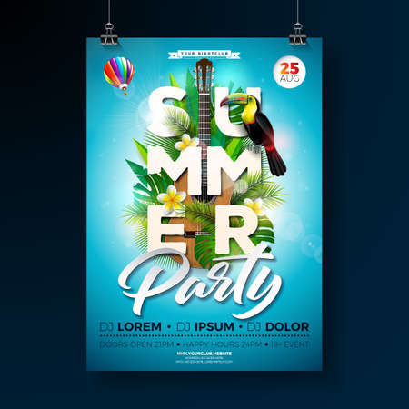 Vector Summer Beach Party Flyer Design with acoustic guitar and toucan on exotic leaf background. Summer nature floral elements, tropical plants, flower, and air balloon with blue sky. Design template for banner, flyer, invitation, poster.