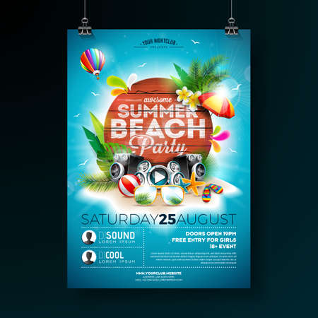 Vector Summer Beach Party Flyer Design with typographic elements on wood texture background. Summer nature floral elements, tropical plants, flower, beach ball and sunshade with blue cloudy sky. Design template for banner, flyer, invitation, poster. Ilustrace