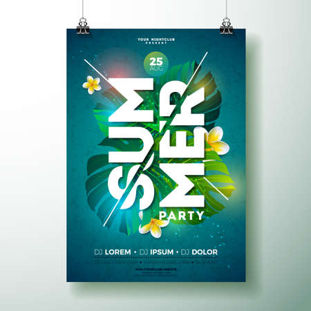 Vector Summer Beach Party Flyer Design with flower and tropical plants on blue background. Summer nature floral elements and typographic letter. Design template for banner, flyer, invitation, poster. Ilustrace