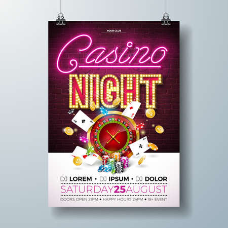 Vector Casino night flyer illustration with gambling design elements and shiny neon light lettering on brick wall background. Lighting signboard, roulette wheel, playing chips, gold coin and poker card. Luxury invitation poster template. Ilustração