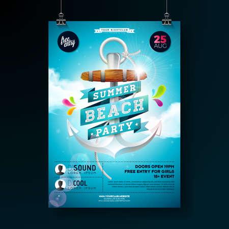 Vector Summer Beach Party Flyer Design con ancoraggio e nastro su sfondo blu cielo nuvoloso. Modello di progettazione per banner, flyer, invito, poster.