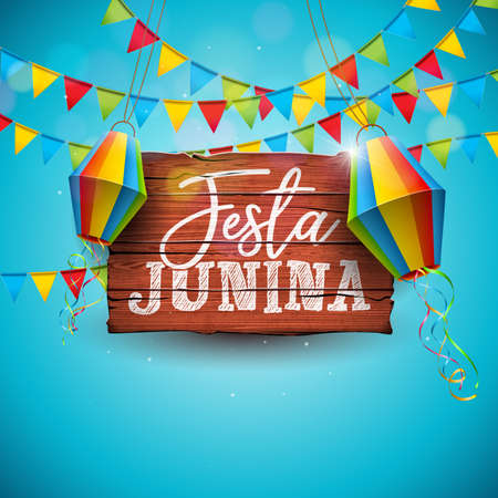 Festa Junina Illustration with Party Flags and Paper Lantern on Blue Background. Vector Brazil June Festival Design for Greeting Card, Invitation or Holiday Poster. Illustration
