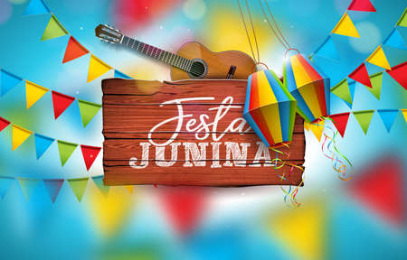 Festa Junina Illustration with Acoustic Guitar, Party Flags and Paper Lantern on Blue Background. Typography on Vintage Wood Table. Vector Brazil June Festival Design for Greeting Card, Invitation or Holiday Poster.