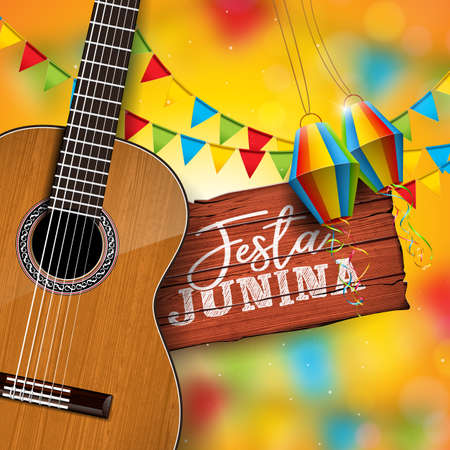 Festa Junina Illustration with Acoustic Guitar, Party Flags and Paper Lantern on Yellow Background. Typography on Vintage Wood Table. Vector Brazil June Festival Design for Greeting Card, Invitation or Holiday Poster.