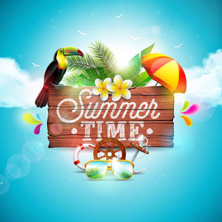 Vector Summer Time Holiday typographic illustration with toucan bird on vintage wood background. Tropical plants, flower, sunglasses and sunshade with blue cloudy sky. Design template for banner, flyer, invitation, brochure, poster or greeting card.