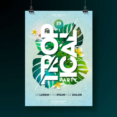 Vector Tropical Party Flyer Design with flower and tropical plants on blue background. Summer nature floral elements and typographic letter. Design template for summer beach banner, flyer, invitation, poster. Reklamní fotografie