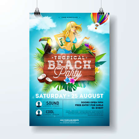Vector Summer Beach Party Flyer Design with sexy young girl and typographic elements on wood texture background. Summer nature floral elements, tropical plants, flower, toucan bird and air balloon with blue cloudy sky. Stock Photo