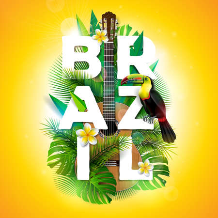 Vector Brazil typography illustration with toucan bird, acoustic guitar and flower on tropical plants background. Design template with green palm leaf for banner, flyer, invitation, brochure, poster or greeting card.