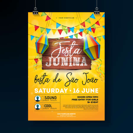 Festa Junina Party Flyer Illustration with typography design on vintage wood board. Flags and Paper Lantern on Yellow Background. Vector Brazil June Festival Design for Invitation or Holiday Celebration Poster.