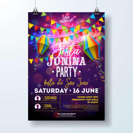 Festa Junina Party Flyer Illustration with Flags and Paper Lantern on Firework Background. Vector Brazil June Festival Design for Invitation or Holiday Celebration Poster.