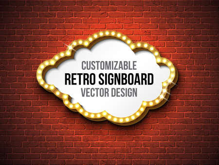 Vector retro signboard or lightbox illustration with customizable design on brick wall background. Cloud shape light banner or vintage bright billboard for advertising or your project. Show, night events, cinema or theatre light bulb frame.