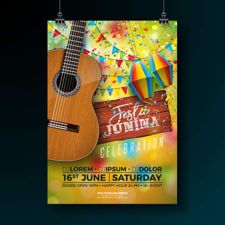 Festa Junina Party Flyer Illustration with Typography Design on Vintage Wood Board and Acoustic Guitar. Flags and Paper Lantern on Yellow Background. Vector Brazil June Festival Design for Invitation or Holiday Celebration Poster.