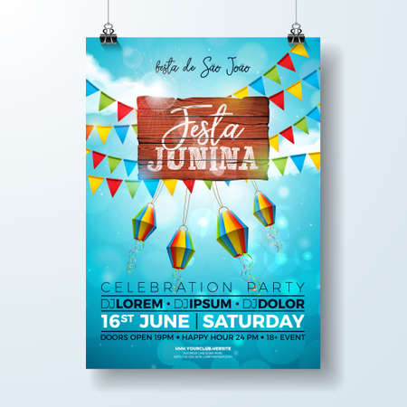 Festa Junina Party Flyer Illustration with typography design on vintage wood board. Flags and Paper Lantern on Blue Sky Background. Vector Brazil June Festival Design for Invitation or Holiday Celebration Poster. Vectores