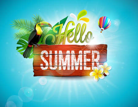 Vector Hello Summer Holiday typographic illustration with toucan bird on vintage wood background. Tropical plants, flower and air balloon with blue sky. Design template for banner, flyer, invitation, brochure, poster or greeting card.
