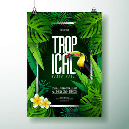Vector Summer Tropical Beach Party Flyer Design with Toucan, Flower and typographic elements on exotic leaf background. Summer nature floral elements, tropical plants. Design template for banner, flyer, invitation, poster. Ilustração