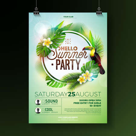 Vector Summer Beach Party Flyer Design with flower toucan on exotic leaf background. Summer nature floral elements, tropical plants, and air balloon with blue sky. Design template for banner, flyer, invitation, poster.