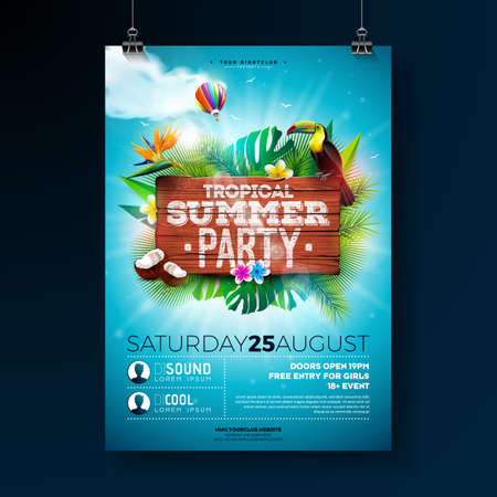 Vector Summer Beach Party Flyer Design with typographic elements on wood texture background. Summer nature floral elements, tropical plants, flower, toucan bird and air balloon with blue cloudy sky. Design template for invitation, poster. Ilustração