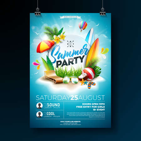 Vector Summer Beach Party Flyer Design with typographic elements on blue cloudy sky background. Summer nature floral elements, tropical plants, flower, beach ball, surf board and sunshade. Design template for banner, flyer, invitation, poster.