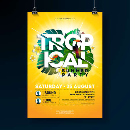 Vector Tropical Summer Party Flyer Design with typographic elements on sun yellow background. Summer nature floral elements, toucan bird and parrot flower with exotic leafs. Design template for banner, flyer, invitation, poster.