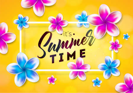 Its Summer Time illustration with flower on sun yellow background. Tropical Holiday typographic design template for banner, flyer, invitation, brochure, poster or greeting card. Illustration
