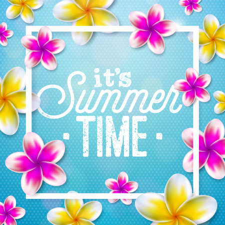 Its Summer Time illustration with flower on blue background. Tropical Holiday typographic design template for banner, flyer, invitation, brochure, poster or greeting card. Illustration