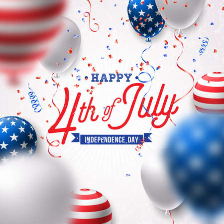 Happy Independence Day of the USA Vector Illustration. Fourth of July Design with Air Balloon and Falling Confetti on White Background for Banner, Greeting Card, Invitation or Holiday Poster. 向量圖像